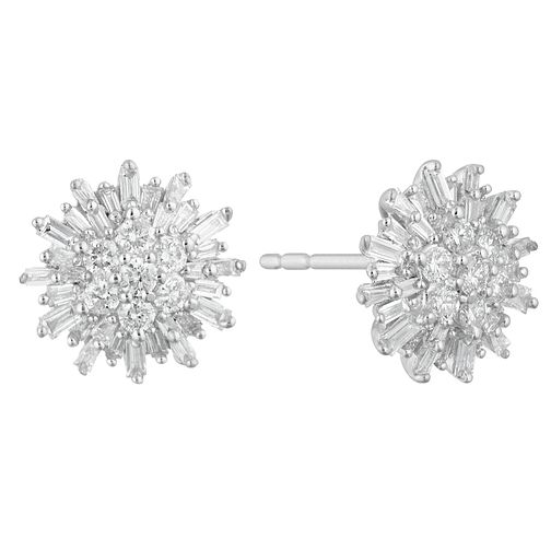 9ct White Gold 1/2ct Baguette Cluster Earrings - Product number 4648285