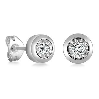9ct White Gold Illusion Setting Diamond Earrings - Product number 4648293