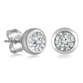 9ct White Gold Illusion Setting 0.10ct Diamond Earrings - Product number 4648307