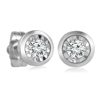 9ct White Gold Illusion Setting Diamond Earrings - Product number 4648315