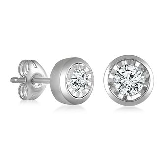 9ct White Gold Illusion Setting 0.15ct Diamond Earrings - Product number 4648323
