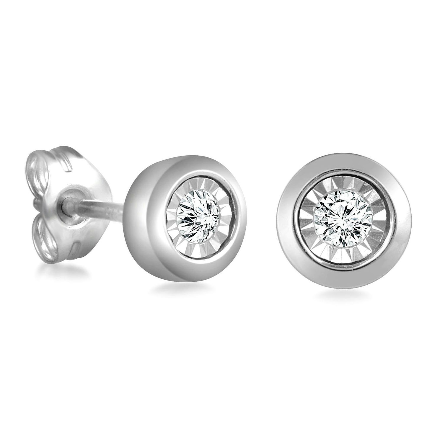 9ct White Gold Diamond Illusion Setting Stud Earrings - Product number 4648331