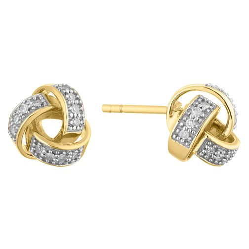 9ct Yellow Gold Diamond Knot Earrings - Product number 4648358