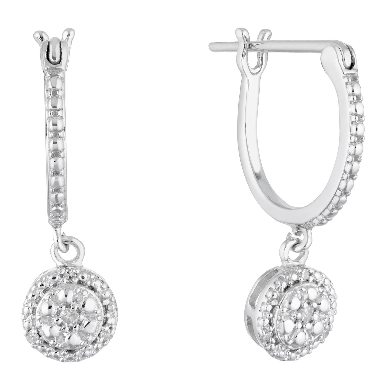 Sterling Silver Diamond Drop Earrings - Product number 4648366