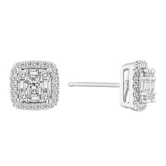 2fa90217db1 9ct White 1 2ct Cluster Halo Earrings - Product number 4648374