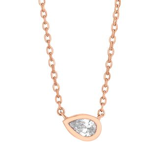 9ct Rose Gold Pear Cut Diamond Necklace - Product number 4648404