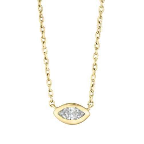 9ct Yellow Gold Marquise Cut Diamond Necklace - Product number 4648412