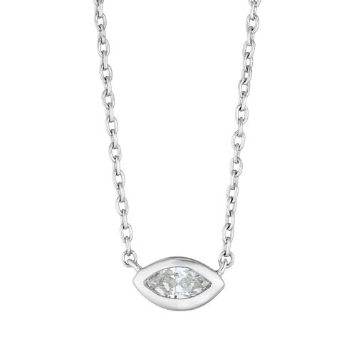 9ct White Gold Marquise Cut Diamond Necklace - Product number 4648420