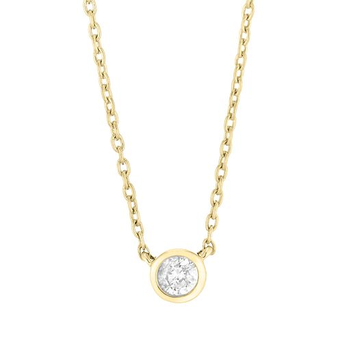 9ct Yellow Gold Round Brilliant Cut Diamond Necklace - Product number 4648447