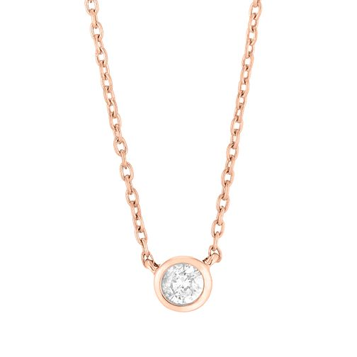9ct Rose Gold Round Brilliant Cut Diamond Necklace - Product number 4648463