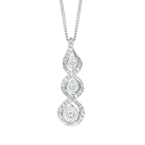 9ct White Gold & Diamond Twist Pendant - Product number 4648471