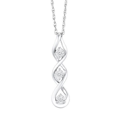 Sterling Silver Diamond Trilogy Twist Pendant - Product number 4648498