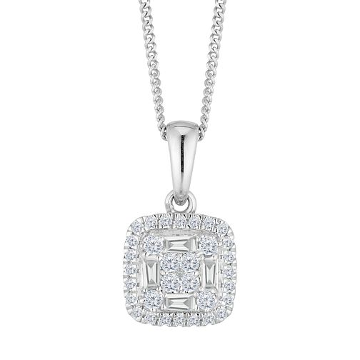 9ct White Gold 1/4ct Diamond Cluster Pendant - Product number 4648528