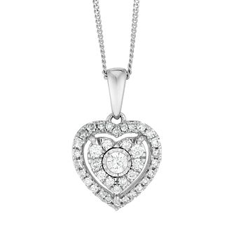 9ct White Gold 1/4ct Diamond Heart Pendant - Product number 4648536