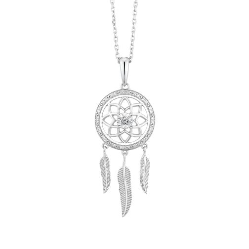 Sterling Silver Diamond Dreamcatcher Pendant - Product number 4648544