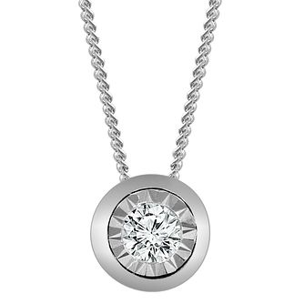 9ct White Gold Illusion Setting Diamond Pendant - Product number 4648560