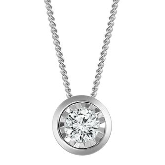 9ct White Gold Illusion Setting 0.15ct Diamond Pendant - Product number 4648579