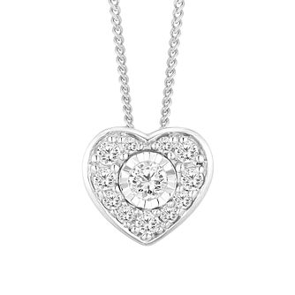 9ct White Gold Diamond Heart Pendant - Product number 4648595