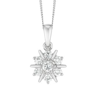 9ct White Gold 1/4ct Cluster Pendant - Product number 4648757