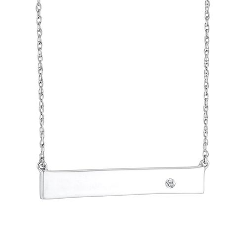 Sterling Silver Diamond Bar Necklace - Product number 4648803