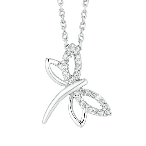 Sterling Silver Diamond Dragonfly Pendant - Product number 4648862