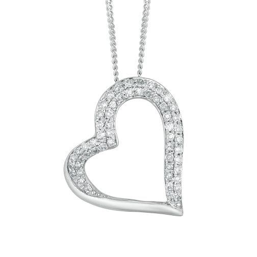 9ct White Gold 0.20ct Diamond Heart Pendant - Product number 4648897