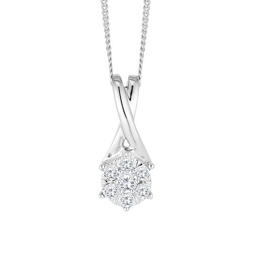 9ct White Gold 0.15ct Diamond Cluster Pendant - Product number 4648900