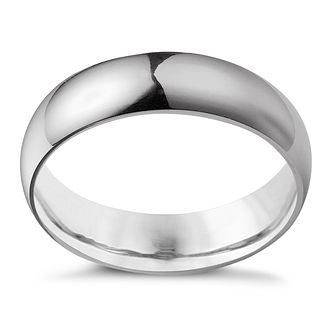 9ct White Gold 6mm Super Heavyweight Court Ring - Product number 4649702