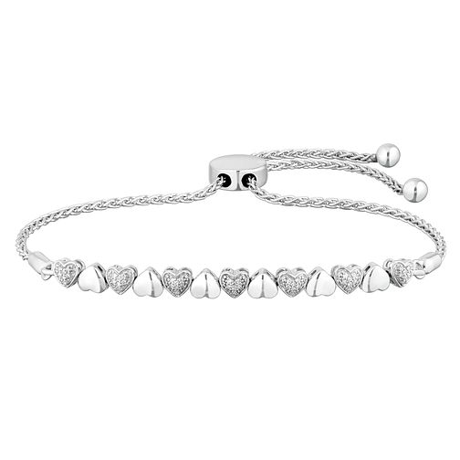 Sterling Silver Heart Diamond Adjustable Bracelet - Product number 4650727