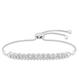 Sterling Silver Double Row Diamond Adjustable Bracelet - Product number 4650743