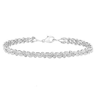 Sterling Silver Double Row Diamond Bracelet - Product number 4650751