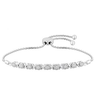 Sterling Silver Diamond Adjustable Bracelet - Product number 4650778