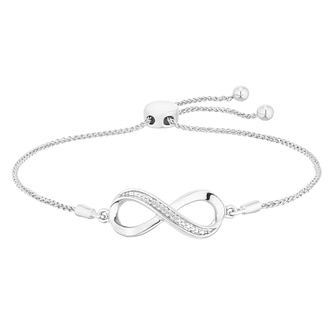 Sterling Silver Diamond Infinity Adjustable Bracelet - Product number 4650808