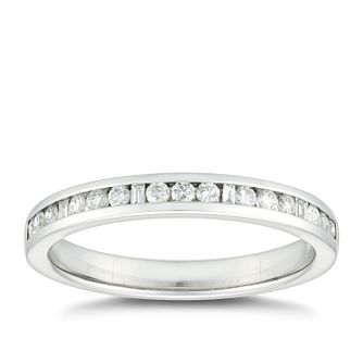 Platinum 1/5ct Diamond Mix Cut Channel Set Wedding Ring - Product number 4650964