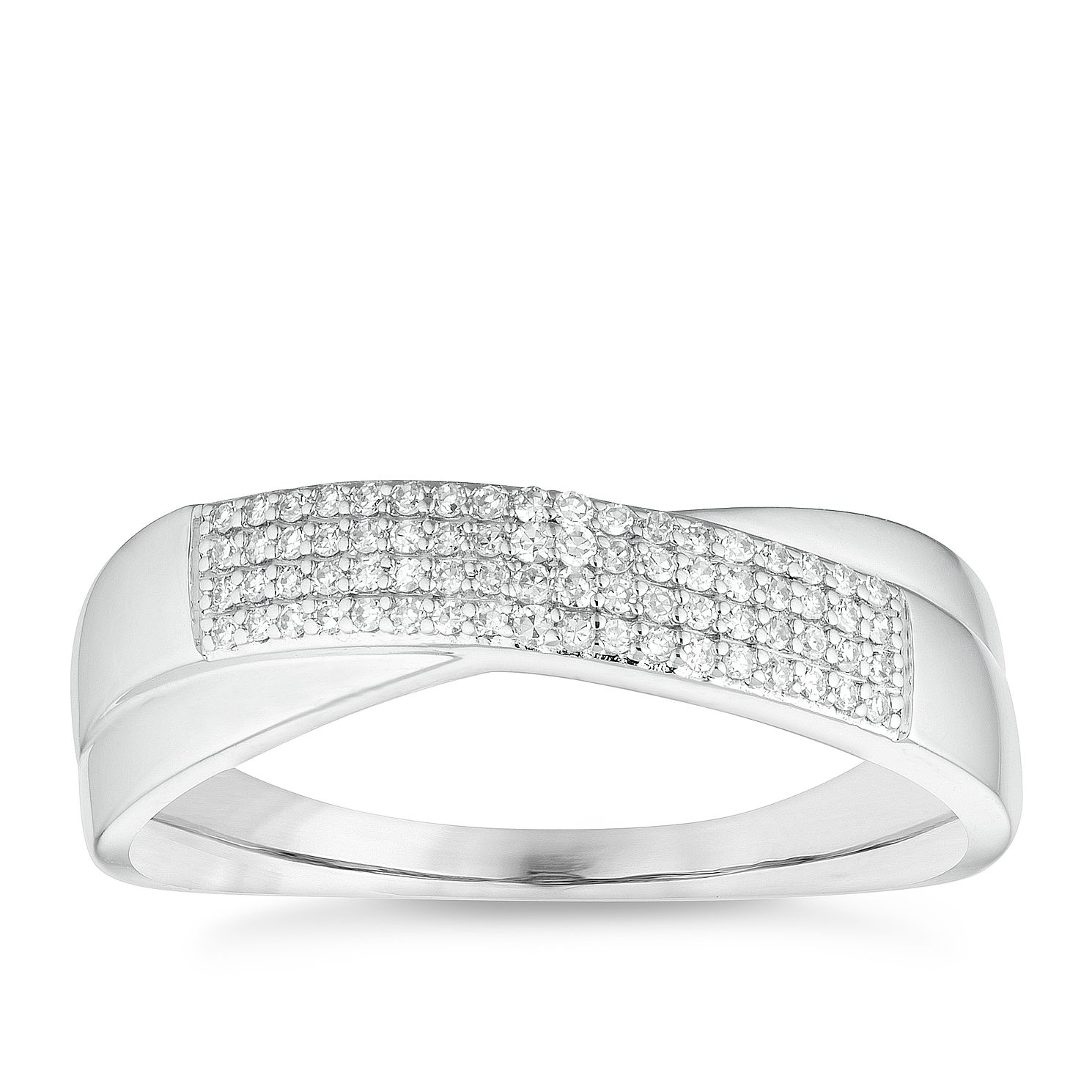 9ct White Gold 0.12ct Diamond Crossover Ring - Product number 4651472