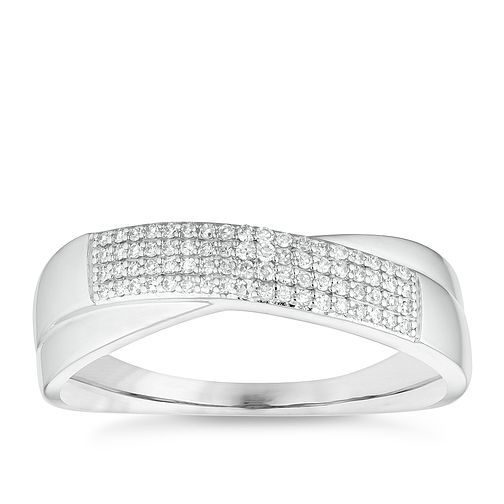 9ct White Gold Diamond Crossover Ring - Product number 4651472
