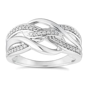 9ct White Gold 0.15ct Diamond Leaf Ring - Product number 4651898