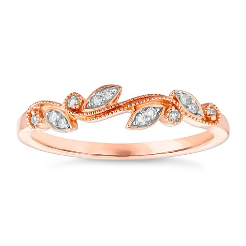 9ct Rose Gold Rhodium Plated Diamond Ring - Product number 4652428