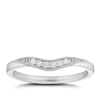 Platinum Diamond Milgrain Edge Shaped Wedding Ring - Product number 4652754