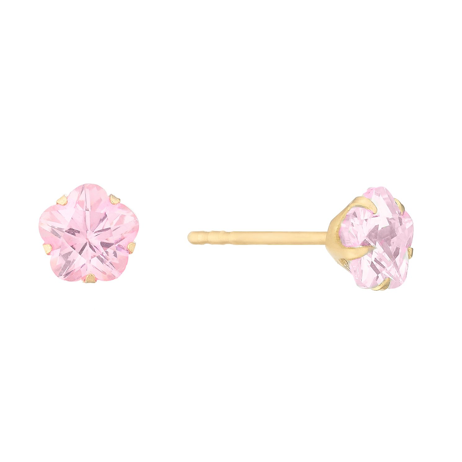 Children's 9ct Gold Pink Cubic Zirconia Flower Stud Earrings - Product number 4653572