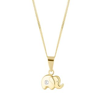 Children's 9ct Yellow Gold Cubic Zirconia Elephant Pendant - Product number 4653580