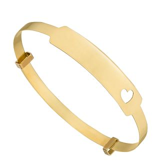 Children's 9ct Yellow Gold Heart Expandaber ID Bangle - Product number 4653599