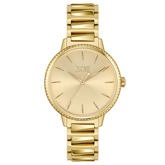 BOSS Signature Crystal Yellow Gold Tone Bracelet Watch - Product number 4653793