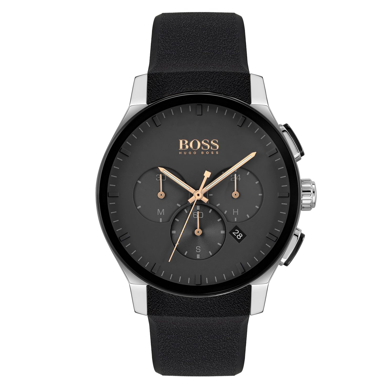 BOSS Peak Chronograph Men's Black Rubber Strap Watch - Product number 4654129