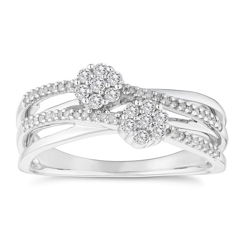 9ct White Gold 1/4 Carat Diamond Cluster Band - Product number 4654382