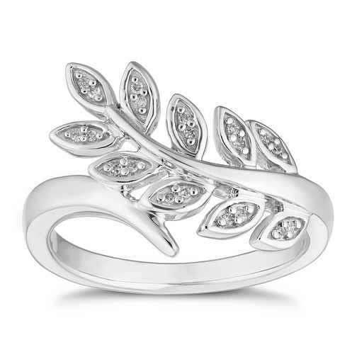 Sterling Silver Diamond Leaf Ring - Product number 4654528