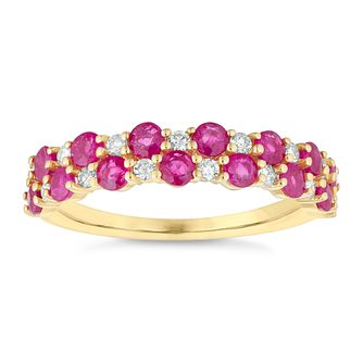 9ct Yellow Gold Double Row Ruby And Diamond Eternity Ring - Product number 4654641