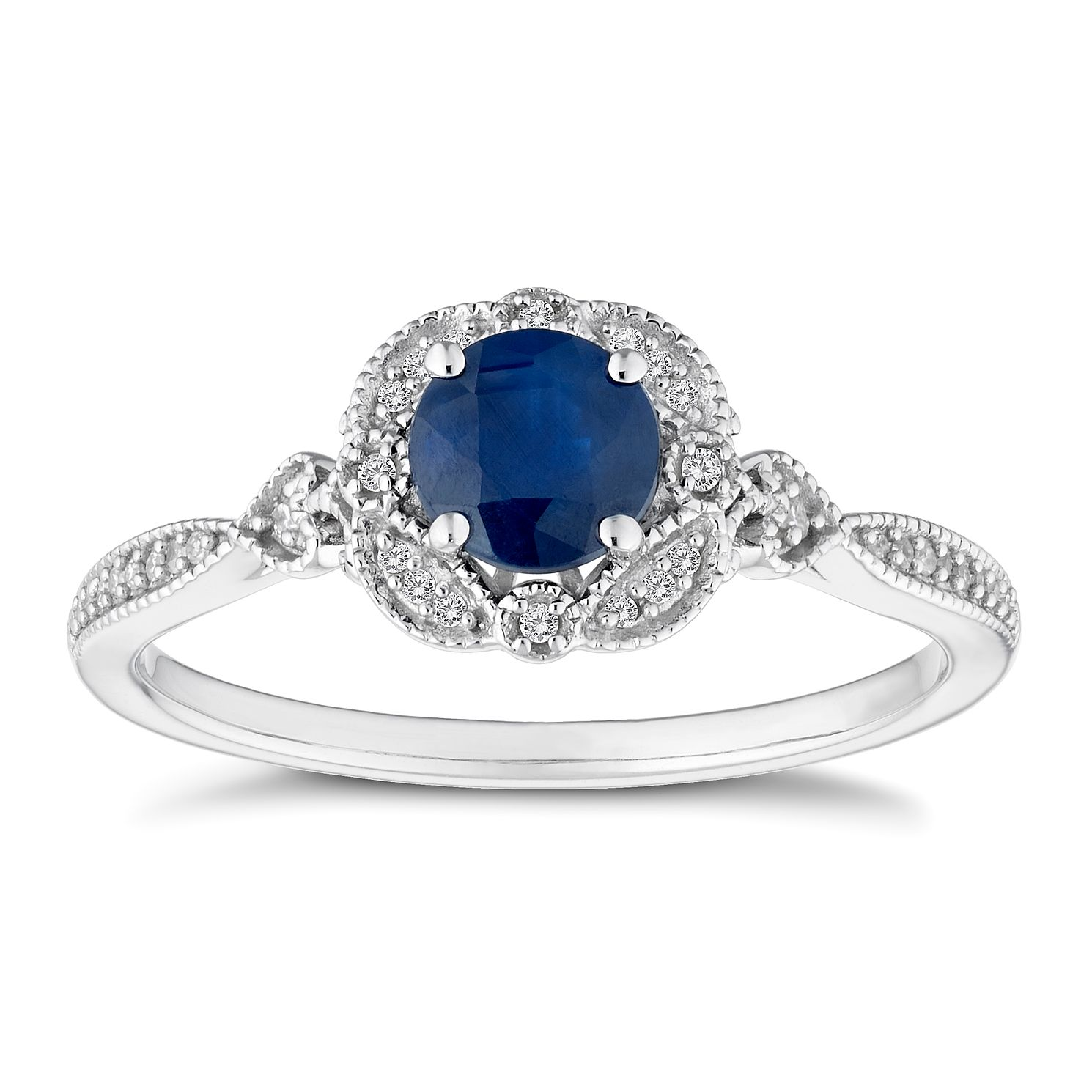 9ct White Gold Sapphire & Diamond Ring - Product number 4654919