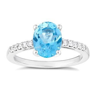 9ct White Gold Oval Blue Topaz And Diamond Ring - Product number 4655052