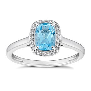 9ct White Gold Oval Blue Topaz Diamond Ring - Product number 4655443